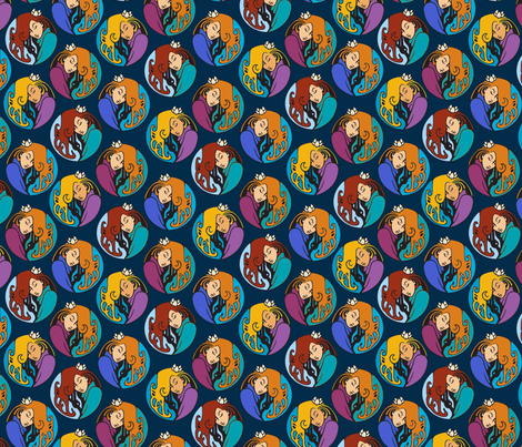 Maiden medallions, alternate colors fabric by hannafate on Spoonflower - custom fabric