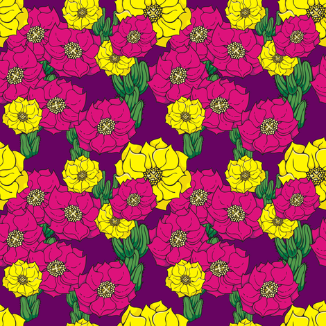 Cactus Flowers, alternate colors fabric by hannafate on Spoonflower - custom fabric