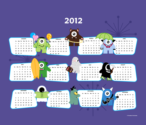 The Imps 2012 Calendar fabric by freedom_fernandez on Spoonflower - custom fabric