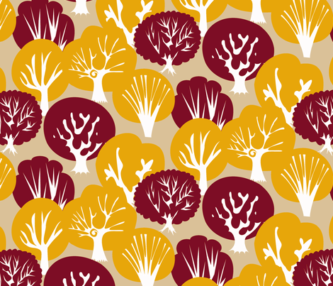 Fall Leaves Deep Red fabric by fussypants on Spoonflower - custom fabric