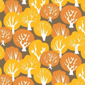Fall Leaves dark brown background