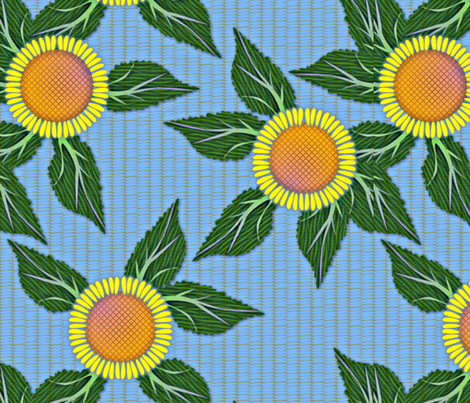 Sunflowers and Blue Wicker - large fabric by glimmericks on Spoonflower - custom fabric