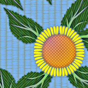 Sunflowers and Blue Wicker - large