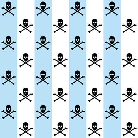 black skull and crossbones on blue and white stripe fabric by littlemisscrow on Spoonflower - custom fabric