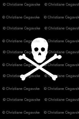 white skull and crossbones on black