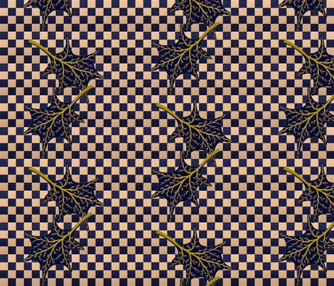 Leaves on wavy navy check fabric by su_g on Spoonflower - custom fabric