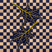 Leaves on wavy navy check