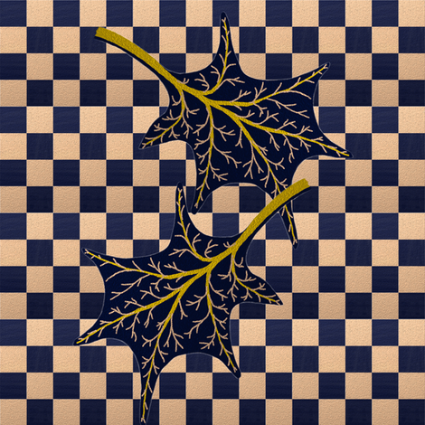Leaves on wavy navy check by Su_G fabric by su_g on Spoonflower - custom fabric