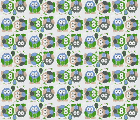 Short Legged Owls in Blue fabric by kbexquisites on Spoonflower - custom fabric