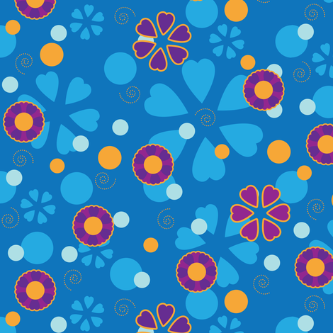 Ditsy Groovy Flowers fabric by robyriker on Spoonflower - custom fabric
