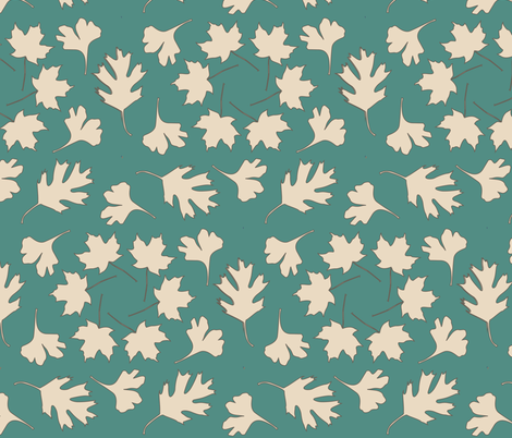 Geometric Array Leaves Falling_3-color fabric by mina on Spoonflower - custom fabric