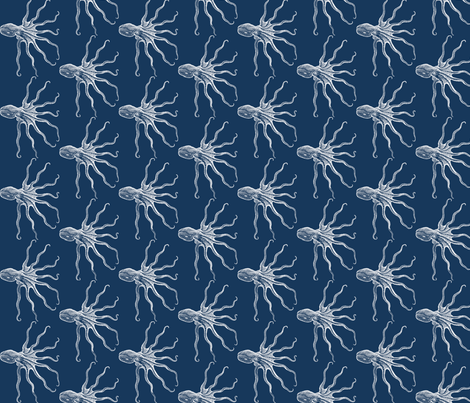 Octopus blue fabric by ravynka on Spoonflower - custom fabric