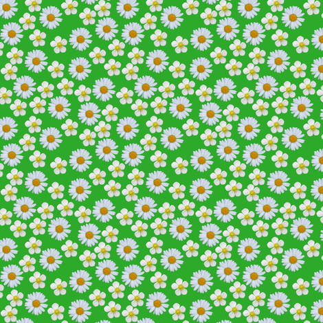 Ditsy Daisies and strawberry flowers fabric by celebrindal on Spoonflower - custom fabric