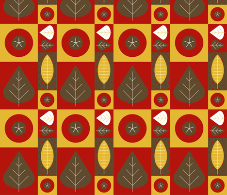 Rose Hips And Leaves - Autumn Colourway fabric by giddystuff on Spoonflower - custom fabric
