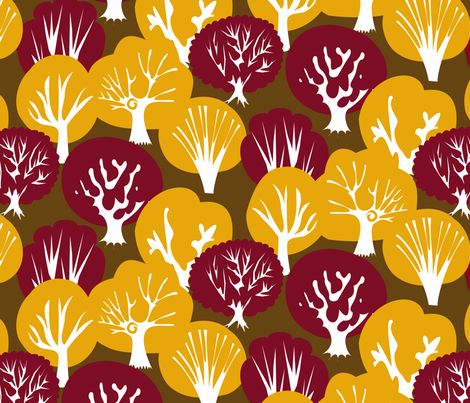 Fall Leaves with Mirrored Trees fabric by fussypants on Spoonflower - custom fabric