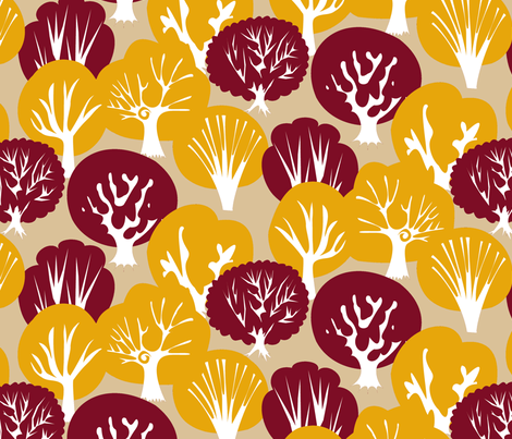 Fall Leaves with Mirrored Trees (Tan) fabric by fussypants on Spoonflower - custom fabric