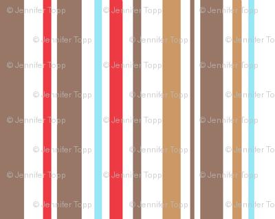 Aqua, red and taupe stripe