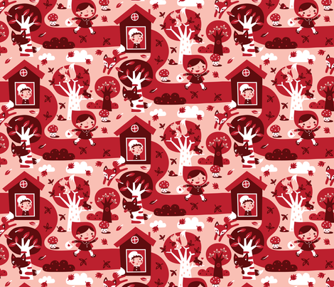 Little red riding hood in autumn forest fabric by bora on Spoonflower - custom fabric