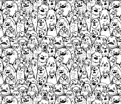 Dogs (black and white) fabric by philippa_rice on Spoonflower - custom fabric