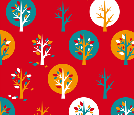 red autumn fabric by cassiopee on Spoonflower - custom fabric
