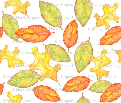 Watercolor Harvest Leaves