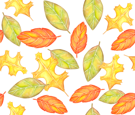 Watercolor Harvest Leaves fabric by marleyungaro on Spoonflower - custom fabric