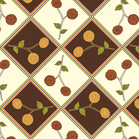 Antique Golden Autumn Dahlia. fabric by rhondadesigns on Spoonflower - custom fabric