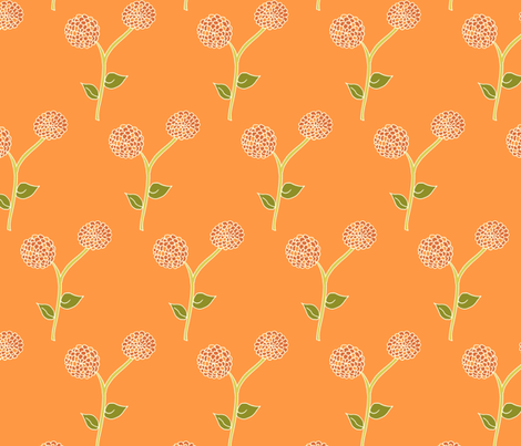 Sunrise Blooms in Dad's Dahlia Garden fabric by rhondadesigns on Spoonflower - custom fabric