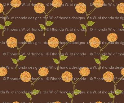 Golden Dahlia Blooms on Deep Brown