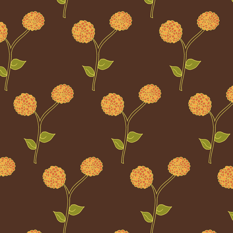 Golden Dahlia Blooms on Deep Brown fabric by rhondadesigns on Spoonflower - custom fabric