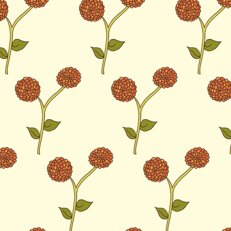Dad's Autumn Dahlia Garden, on Cream fabric by rhondadesigns on Spoonflower - custom fabric