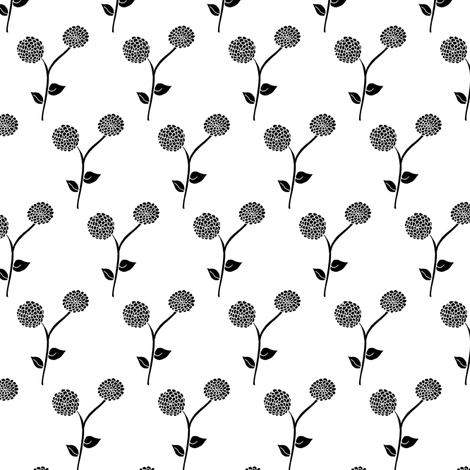 Black Frost Dahlia Garden fabric by rhondadesigns on Spoonflower - custom fabric