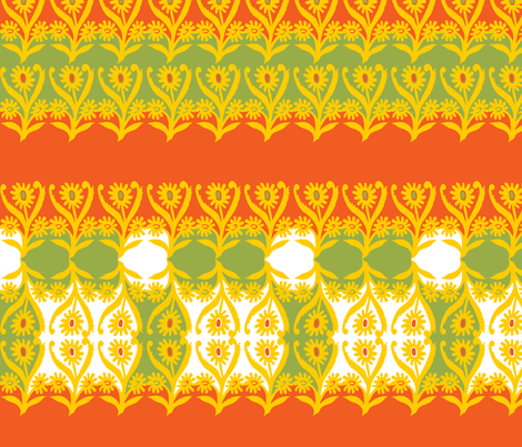 stylized sunflowers in vivid autumn colors fabric by eva_krasilni_razbor on Spoonflower - custom fabric