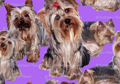 lavender Yorkshire terrier fabric