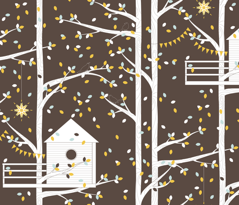 Treetop Getaway - Night version fabric by kayajoy on Spoonflower - custom fabric