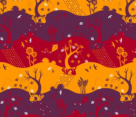 Autumn Silhouettes (please zoom for details) fabric by annosch on Spoonflower - custom fabric