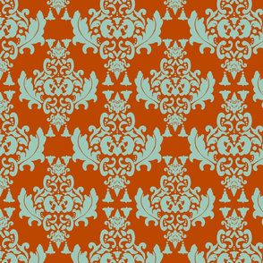 Delicious Damask- Olive Green on Spoonflower Green-ch-ch-ch-ch-ch