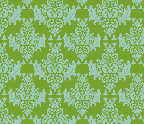 Delicious Damask- Olive Green on Spoonflower Green