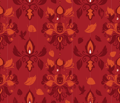 Autumn Damask fabric by cynthiafrenette on Spoonflower - custom fabric
