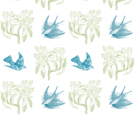 Aquagreen birds in flight fabric by jennifer_rizzo on Spoonflower - custom fabric