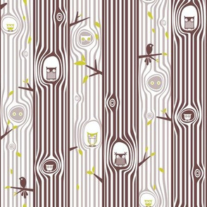 Autumn Owl Tree Stripe