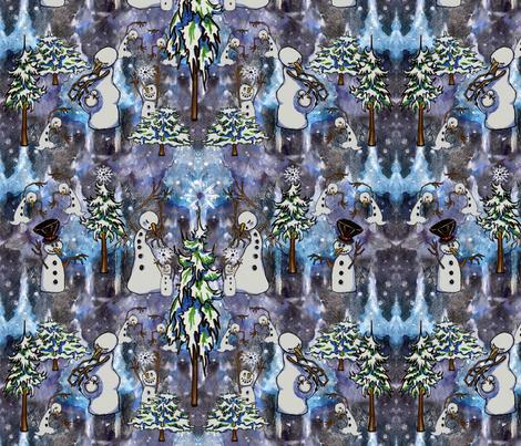 Snowman Winter Wonder Land, Christmas, Christmas Tree, Ice fabric by mariannemathiasen on Spoonflower - custom fabric