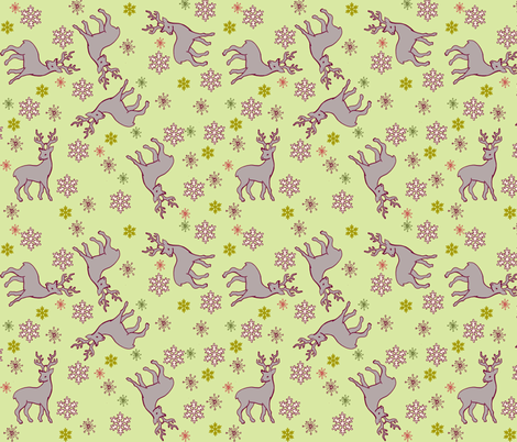 Reindeer and Snowflakes fabric by woodle_doo on Spoonflower - custom fabric