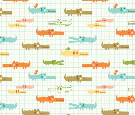 jungle love crocodiles fabric by amel24 on Spoonflower - custom fabric