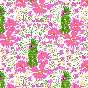 Green Parrot Pink Paradise