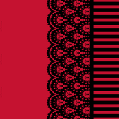 Skull and Crossbones Lace Border and Stripe - red and black - 1/2 inch stripe