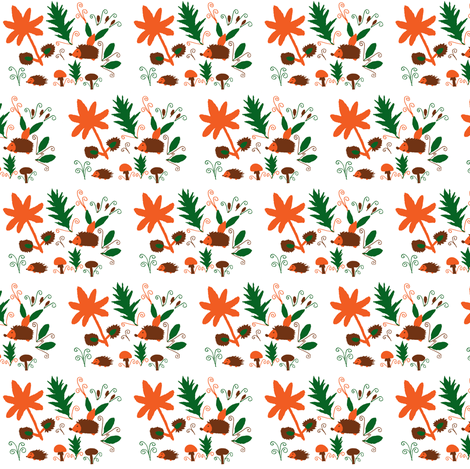Hedgehog Fun in Autumn fabric by angelgreen on Spoonflower - custom fabric