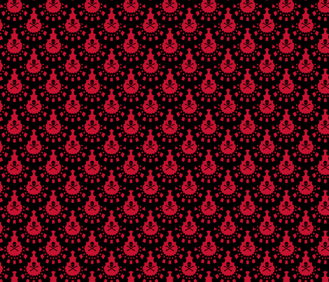 Black Skull and Crossbones Lace on Red