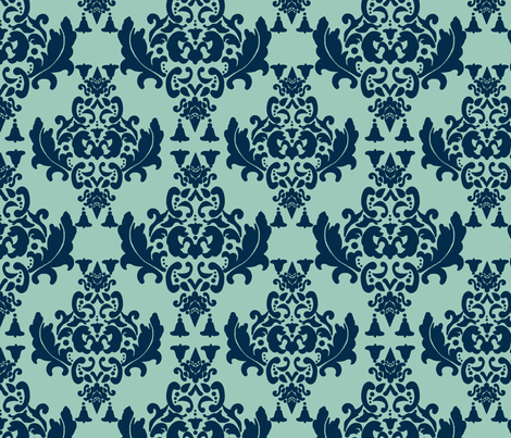 Delicious Damask-  Navy Blue on Spoonflower Green fabric by mayabella on Spoonflower - custom fabric