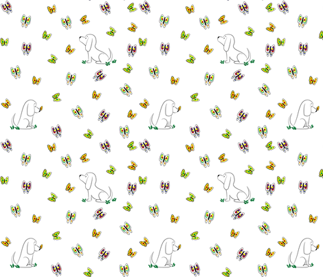 Doodle Bassets and Butterflies fabric by robyriker on Spoonflower - custom fabric